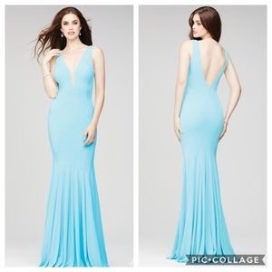 Jovani Plunging Neckline Prom Gown in Tiffany Blue